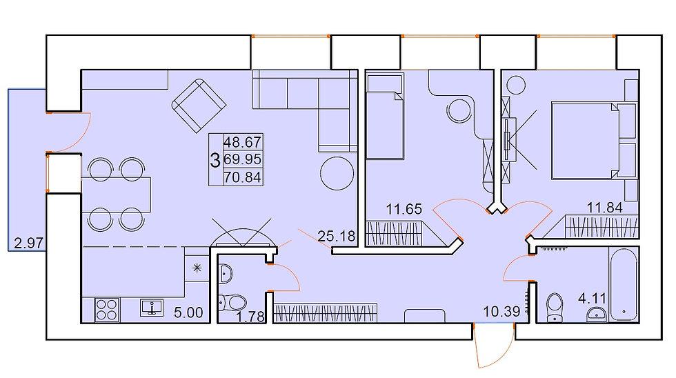 3-х комнатная квартира индивидуальной планировки 69,95 м.кв.