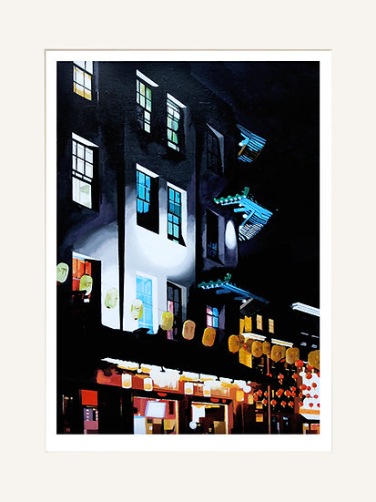 Chinatown Lanterns - Signed Giclée Print (Mounted)