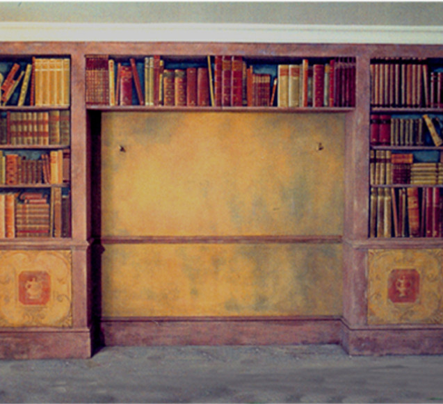 Pelham Crescent bookcase painted on cupboard doors