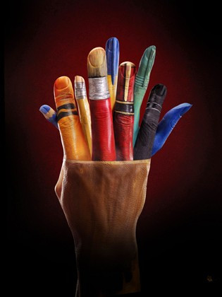 pencil pot painted on hands for Ecclesiastical ad