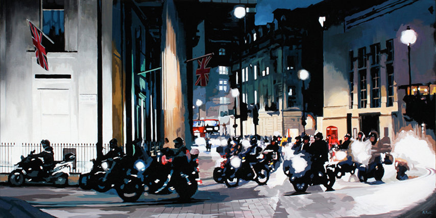 Bikers in Trafalgar Square - Original acrylic on canvas