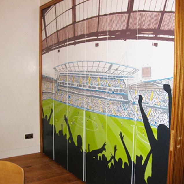 football stadium cupboard doors