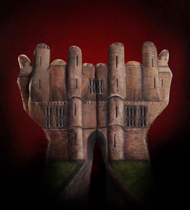 castle painted on hands for Ecclesiastical ad