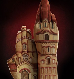church painted on hands for Ecclesiastical ad
