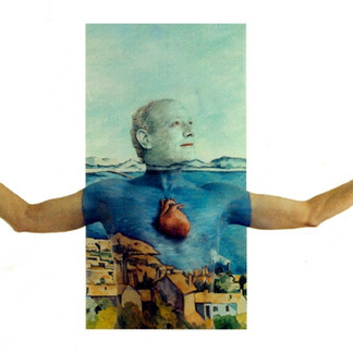 heart painted onto model against Cezanne-like painted backdrop for heart disease ad