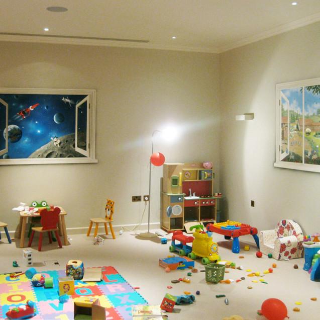 windows on playroom walls