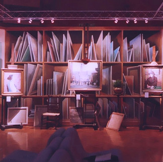 trompe l'oeil background of stacked paintings and windows for Christie's sale