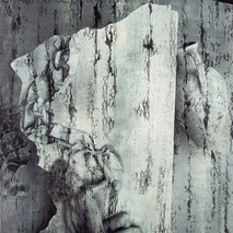 model painted to look like travertine marble for promotional shot