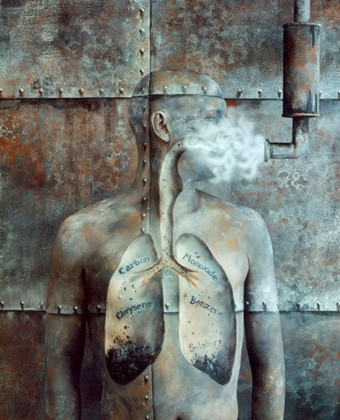 award-winning anti-smoking ad for ICI with painted background, body painting and 'smoke' effect on glass
