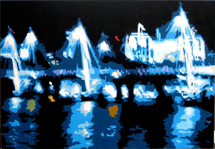 Golden Jubilee Bridge Reflections - Original acrylic on canvas