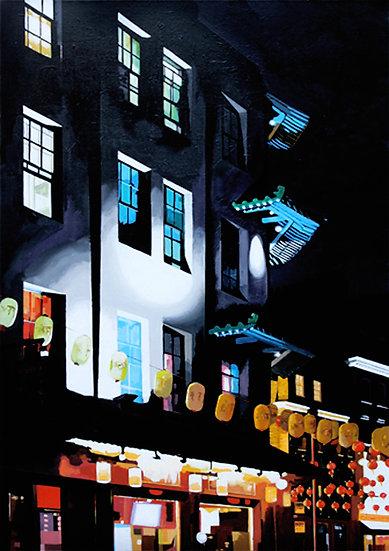 Chinatown Lanterns - Original acrylic on canvas