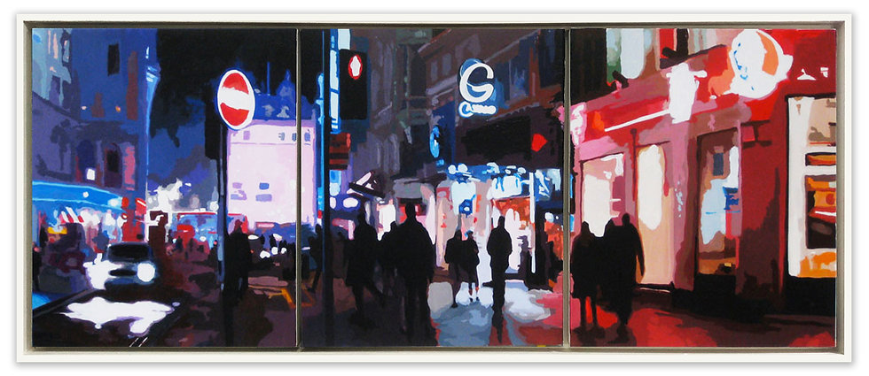 Coventry Street to Piccadilly - Original acrylic on canvas (framed triptych)