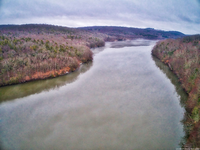 Foggy morning over river in Brookfield, CT. Phantom 4 Professional Plus, Sandy Schupper