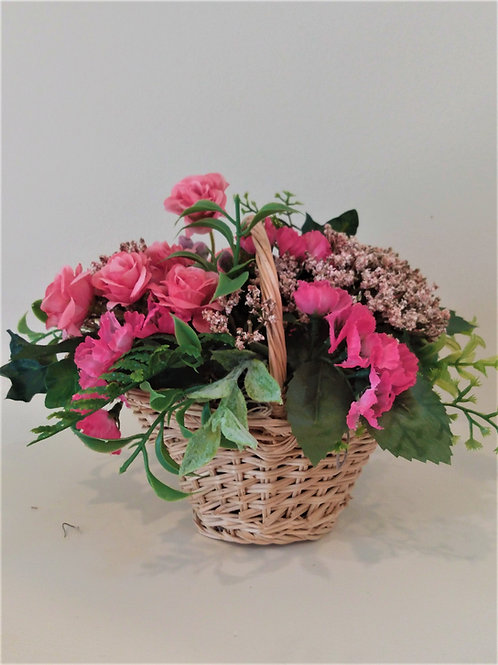 Mini Basket with pink Roses