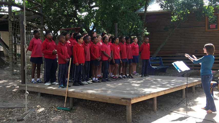 Terrah directing the first ever music class at Riverwood Primary School