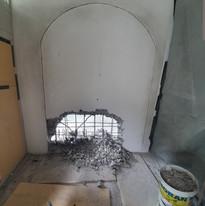 Ouverture d'une voûte dans le mur en béton armé (1/4)