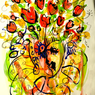 """GIRL WITH FLOWERS IN HER HAIR"" $500 SOLD"