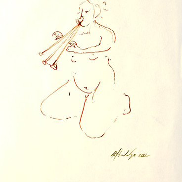 """NUDE WITH FLUTE"" $100"