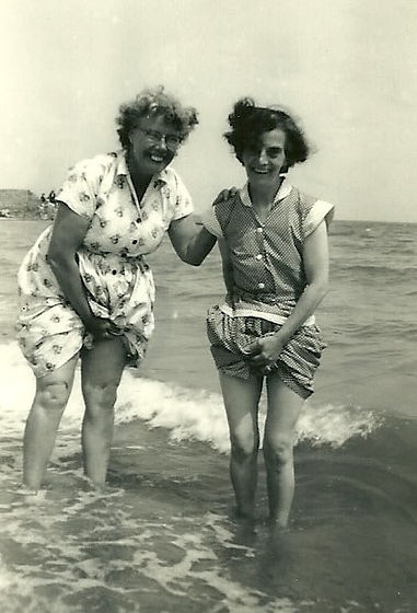 vintage photo of two women at the notes
