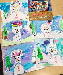 Watercolor Snowmen