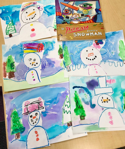 Watercolor Snowmen