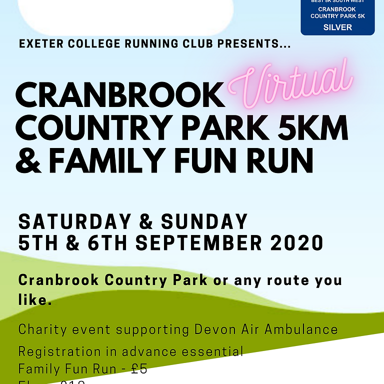 Cranbrook Country Park 5km and Family Fun Run (Virtual)