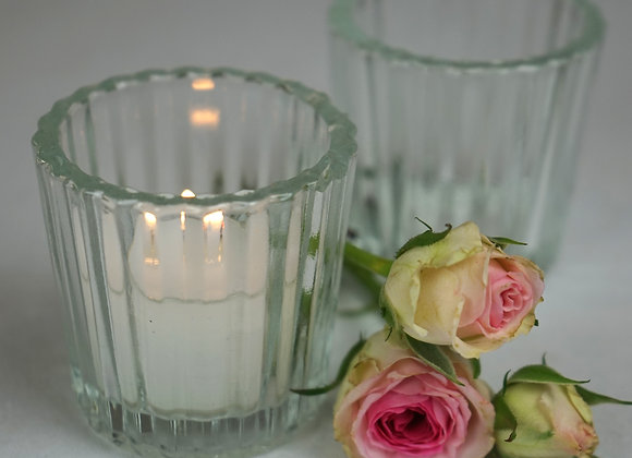 Teelicht Glas klar gerillt