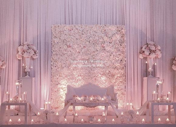 Brautpaartisch 8m mit Flowerwall, Couch ect.
