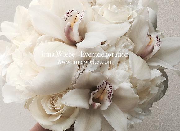 Brautstrauß aus Pfingstrosen, Rosen und Zymbidien