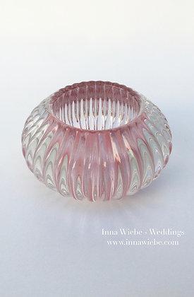 Rosé Glasvase/ Windlicht gerillt klein