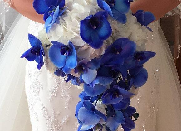 Brautstrauß in blau weiß