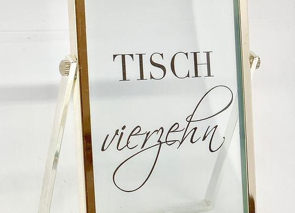 Tischnummer Glas mit silbernem Rand