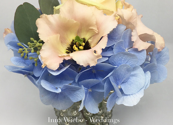 Blumenvase in Blau/Apricot
