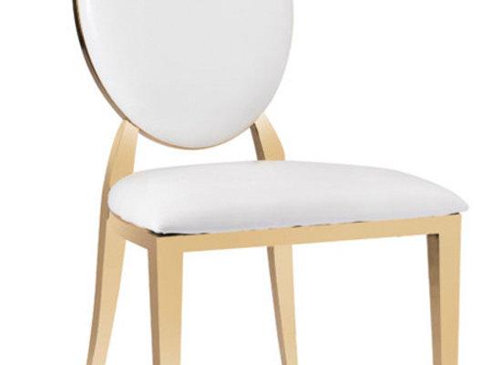 Round back Stuhl gold mit weißen Polstern