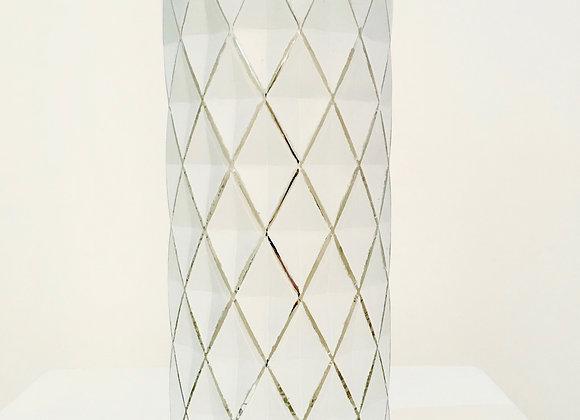 Vase / Windlicht weiß mit goldenen Rauten
