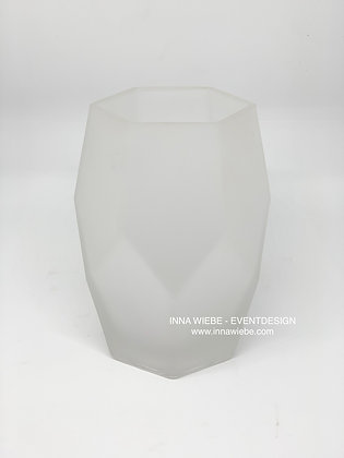Vase milchig weiß niedrig