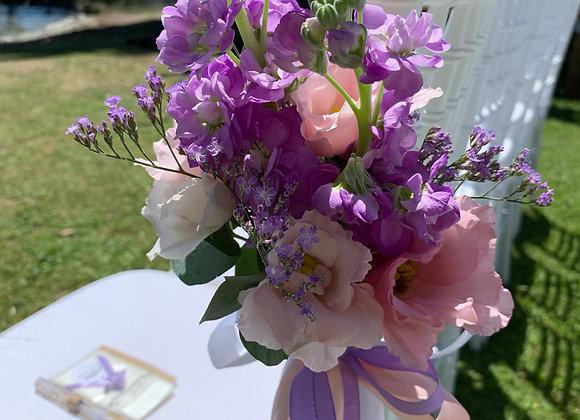 Blumen für Traustühle mit Bändern
