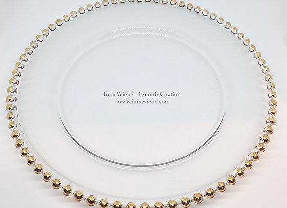 Platzteller Glas mit goldenem Noppenrand