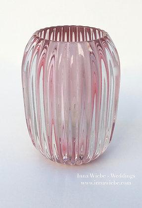 Rosé Glasvase/ Windlicht gerillt groß