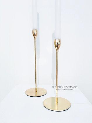 Einarm Kerzenhalter gold groß