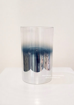 Vase / Windlicht mit verspiegeltem Verlauf in silber