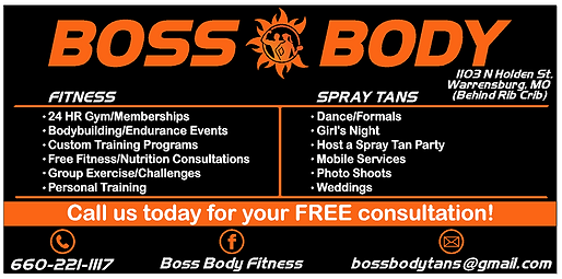 Boss Body Fitness Services, Fitness, Spray Tans, Personal Training, 24 hr gym, fitness/nutrition consultaions, group exercise/challenges