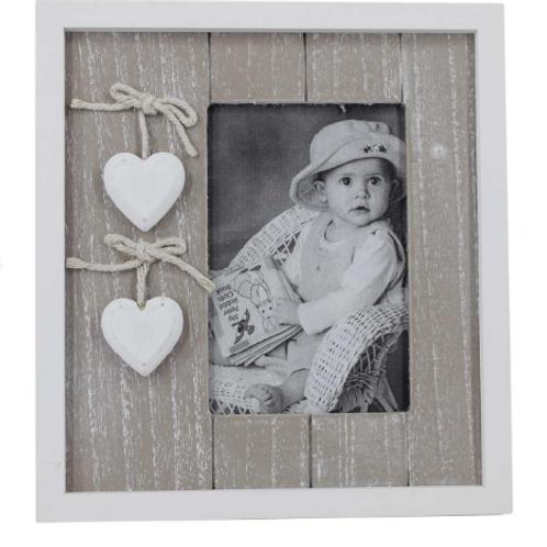Ahşap Beyaz Kalpli Fotoğraf Çerçevesi