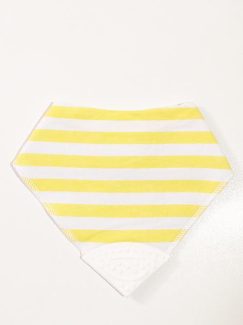 Sarı Beyaz Çizgili Diş Kaşıyıcılı Bebek Önlüğü
