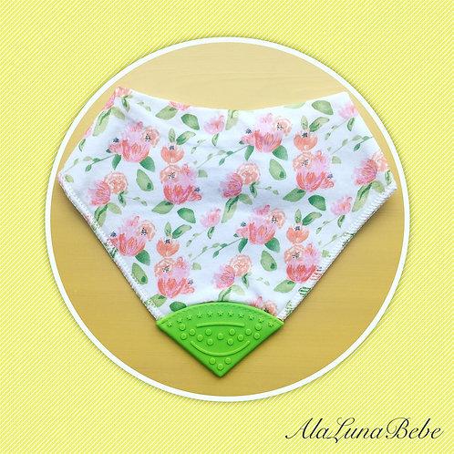 Pink & Green Roses Diş Kaşıyıcılı Bebek Önlüğü