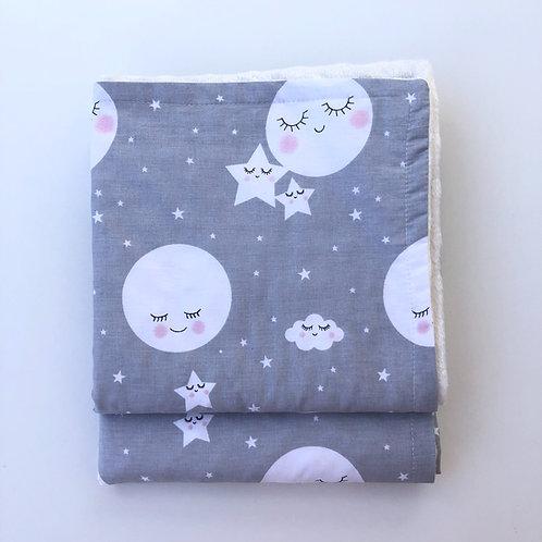 AlaLunaBebe Gri Sleepy Moon Çift Taraflı Yumuşacık Bebek Battaniyesi