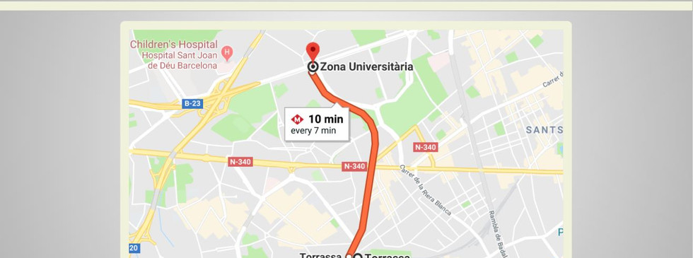 מרחק לאוניבסיטאות ברצלונה