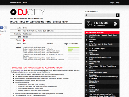 """DJCITY features """"Hold On We're Goin Home"""" remix"""
