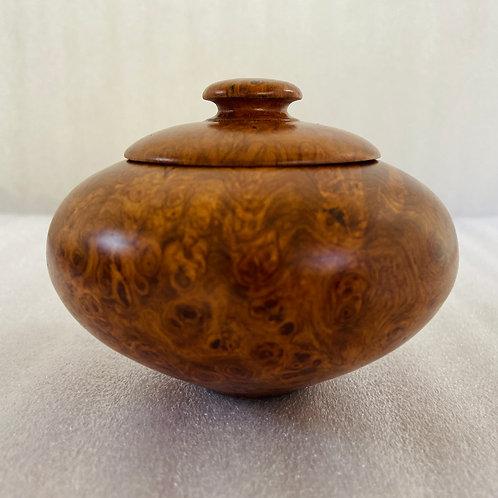 amboyna burl wood turned lidded box urn salt container keepsake stash box rosewood redwood burl paduak