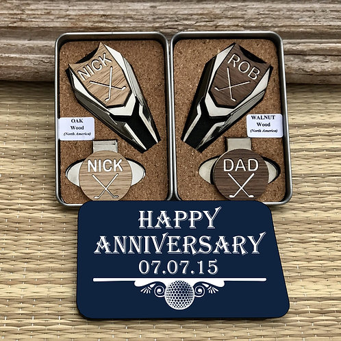 custom divot tool personalized golf ball marker wood set 5th wedding anniversary gift magnetic hat clip